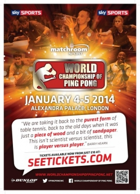 World Champs of Ping coming to Ally Pally, London.